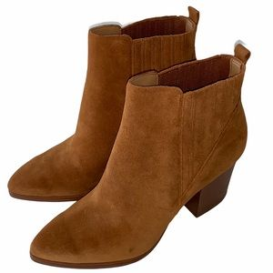MARC FISHER Alva Pointy Toe Boot Brown Suede New